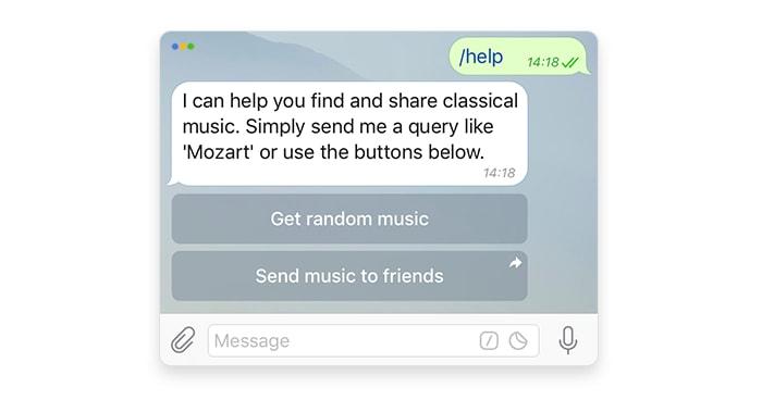 screenshot of an inline keyboard in Telegram