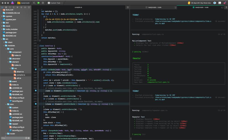 Split Pane Layout in Nova displaying TypeScript and Terminal Output