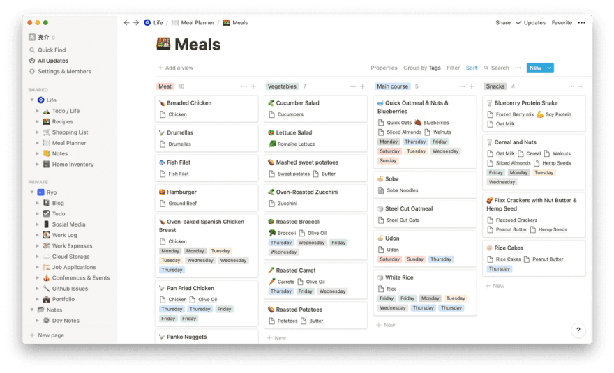 Screenshot of the Notion app on the Meals page with a Kanban view sorted by meal type