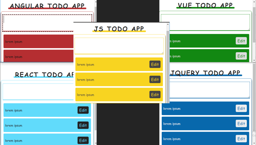 Same todo app with different technologies