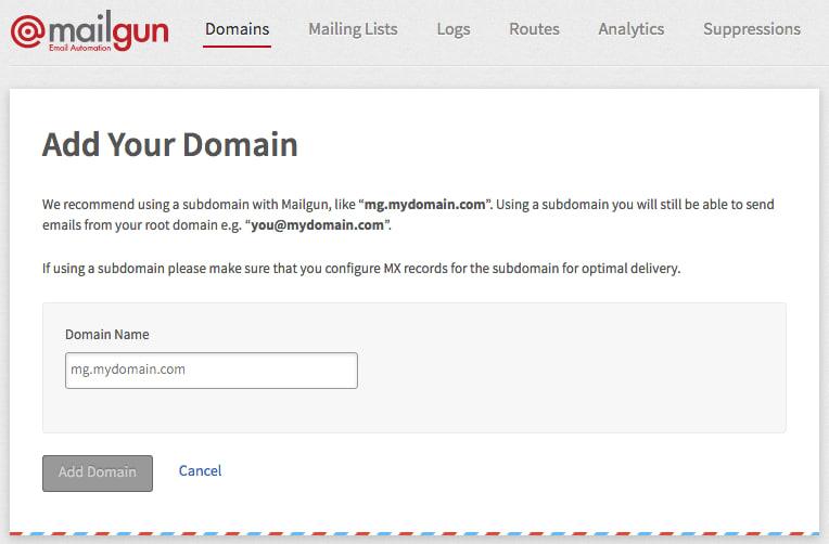 Mailgun's add domain page