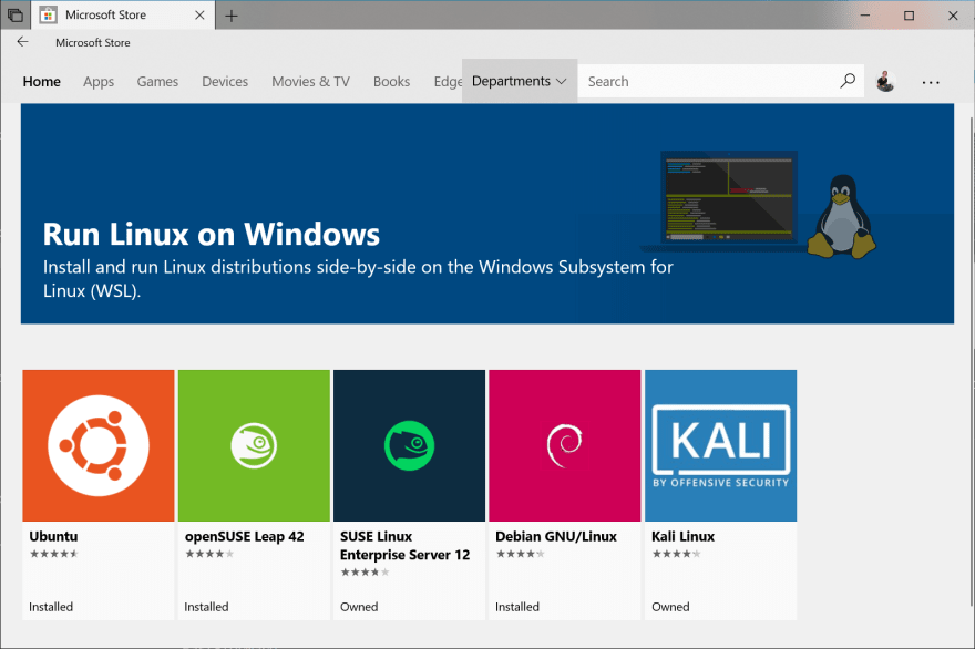 Linux's distributions available for WSL