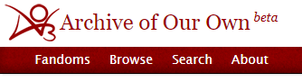 A screenshot of the AO3 navigation bar that shows the textured red background