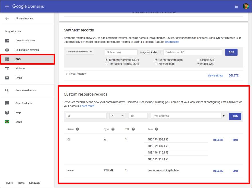 Google Domains DNS Config