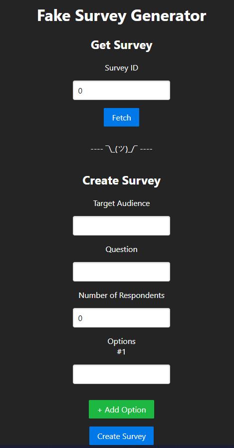 Fake Survey Generator UI