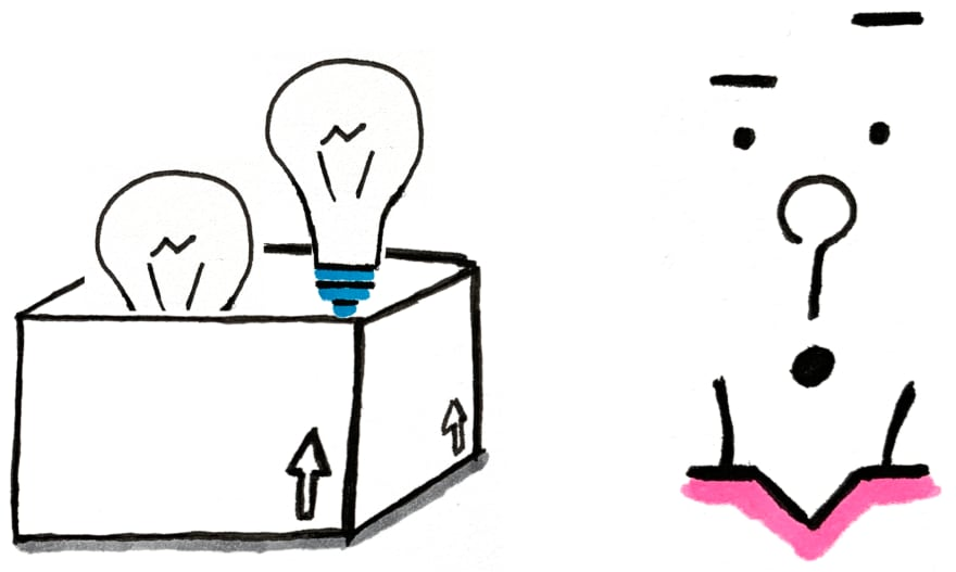 Handmade sketch displaying a cardboard box containing two light bulbs on the left and a surprised face with a question mark in place of the nose on the right