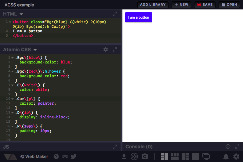 Atomic CSS in Web Maker