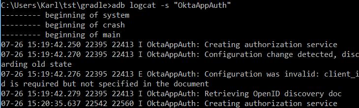 Logcat output