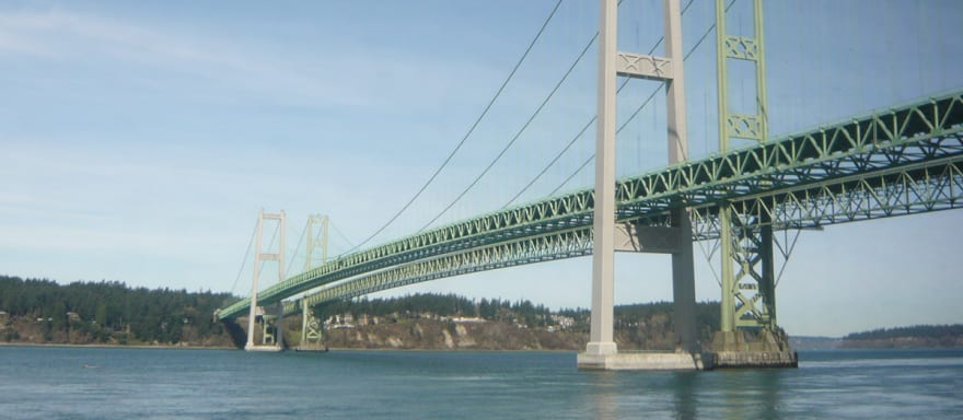 Photograph of Tacoma Narrows bridge from the Seattle to Portland train