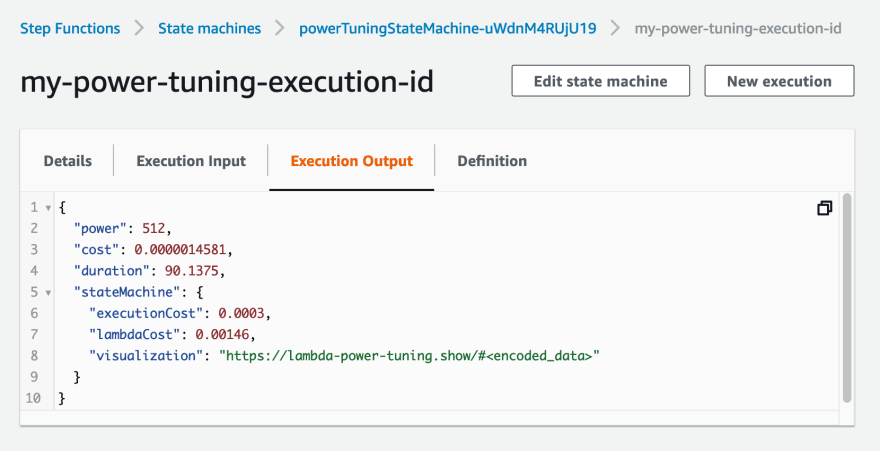 Step Function execution example