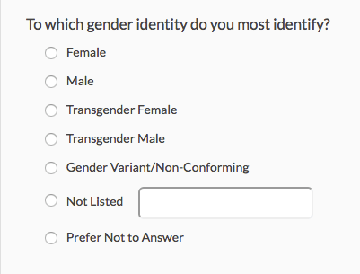 Example of a gender selector on a survey, the options are: male, female, transgender male, transgender female, gender variant, not listed, prefer not to say