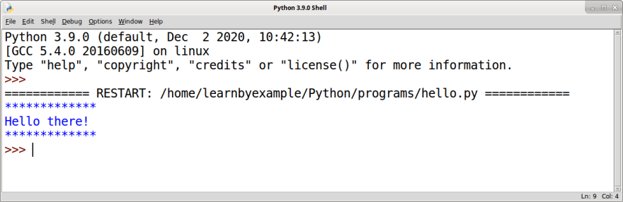 Python shell example with output from an executed program