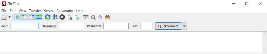 The opening screen of Filezilla