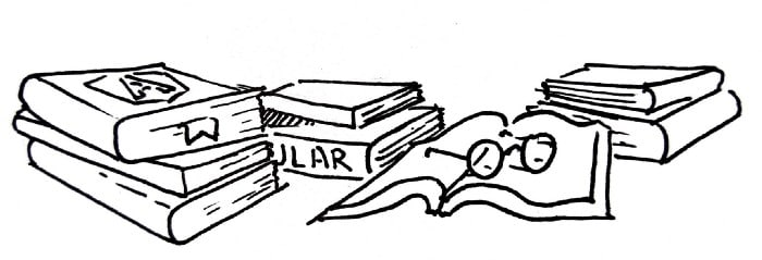 "A black sketch style drawing of three small pile of books, one book is open between them. The book on top of one pile has the Angular logo on the cover and a fabric bookmark peeking out of the pages. The bottom book of another pile has the word ""Angular"" on the spine. The open book has a pair of glasses resting on it."