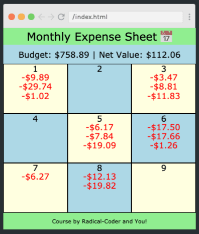 Monthly Expense Sheet app