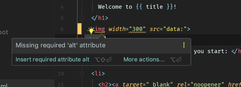 WebStorm HTML Accessibility Inspection