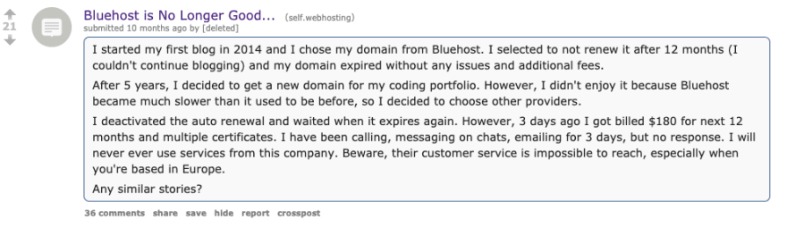 bad Reddit review bluehost