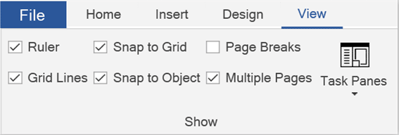 Choose the Rulers and Grid Lines Check Boxes