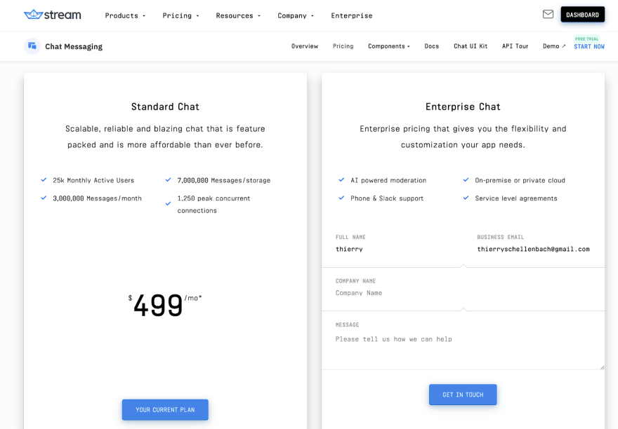 Stream's white label chat api pricing