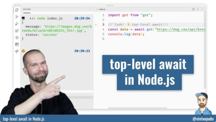 YouTube video - top-level await in Node.js
