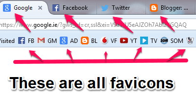 browser displaying browser tab icons