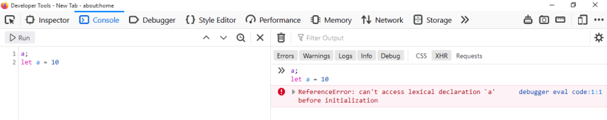 Reference error shown in Firefox developer tools