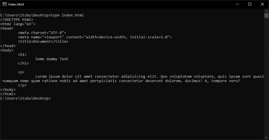 Type index.html terminal ouptut