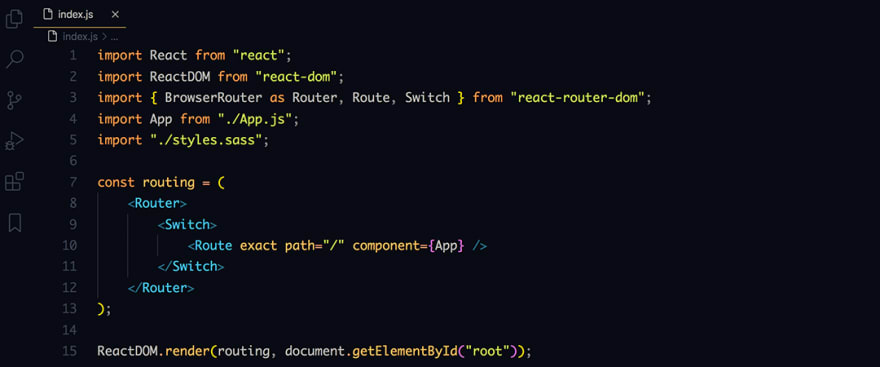 React code snippet with the August - Dark theme