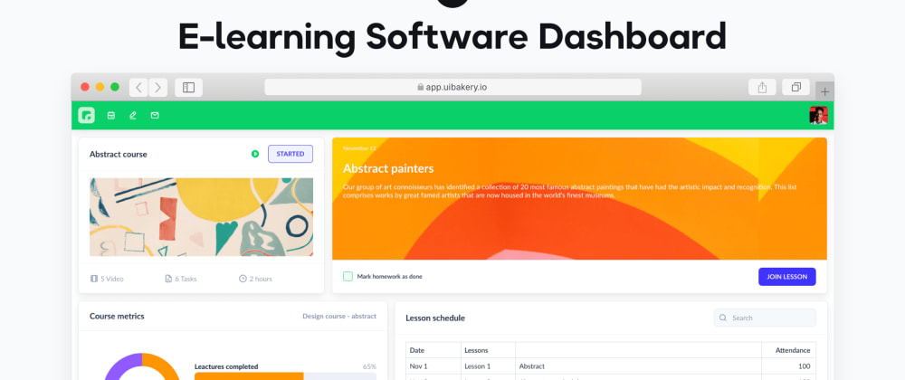 Cover image for E-learning software template 🚀 Free, responsive, customizable