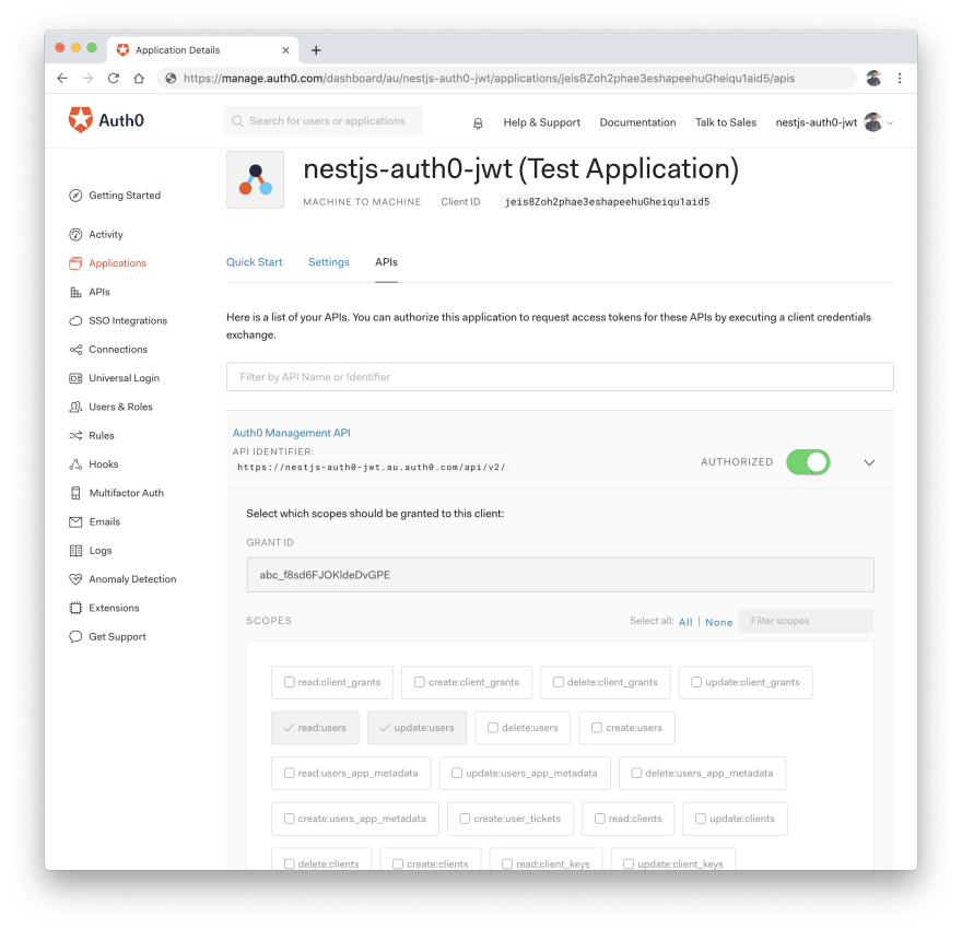 Enable Auth0 Management API