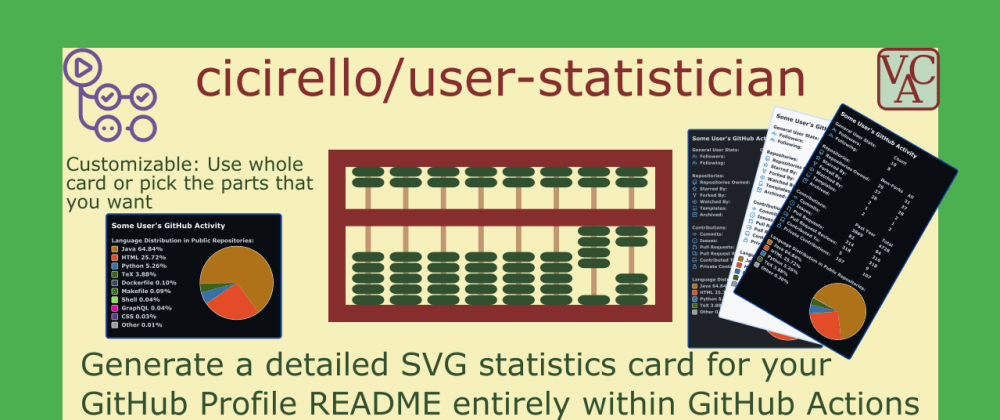 Cover image for Generate a GitHub stats SVG for your GitHub Profile README in GitHub Actions