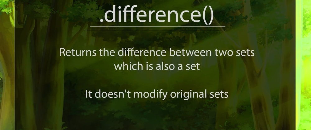 Cover image for Python: set.difference