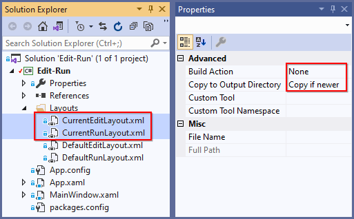 Create xml files with build action set to none