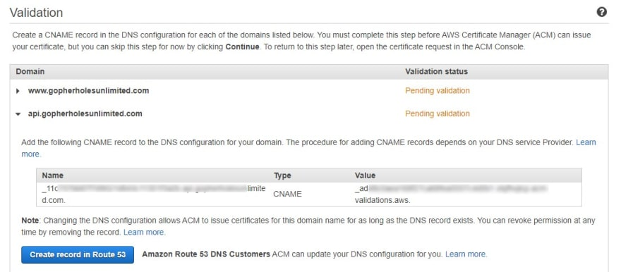 DNS verification records for ACM