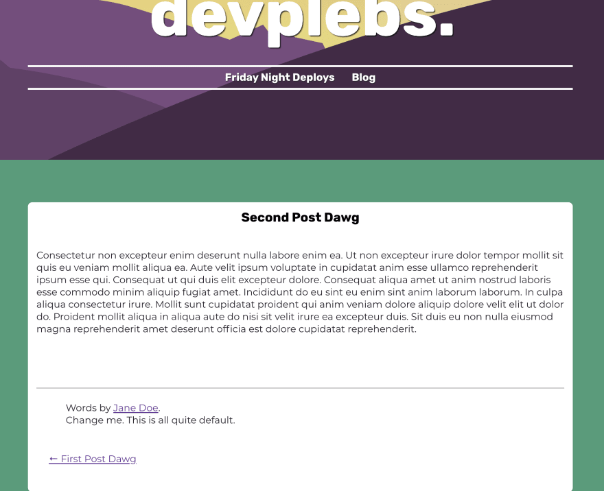 Screenshot of shadowed post page with placeholder content still appearing in the post footer