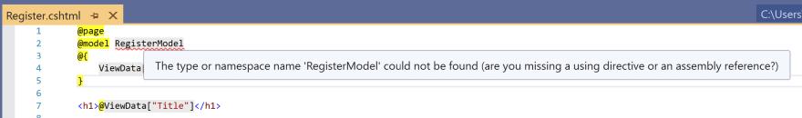Image of the build error in the Register.cshtml Razor Page