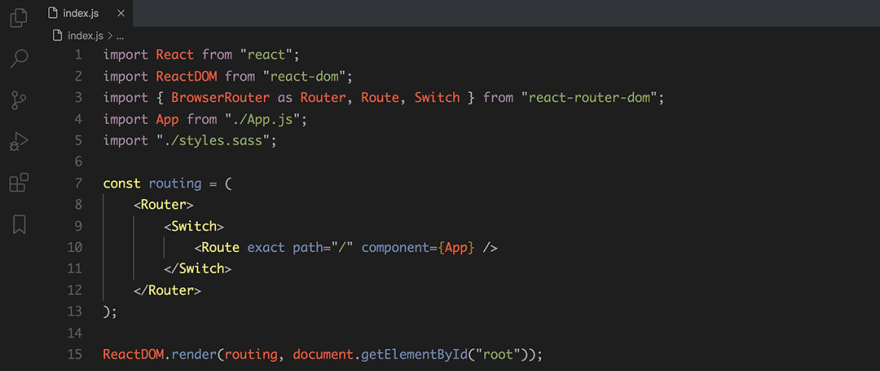 React code snippet with the Base16 - Dark Twilight theme