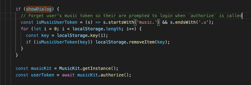 Code that removes music user tokens from localStorage