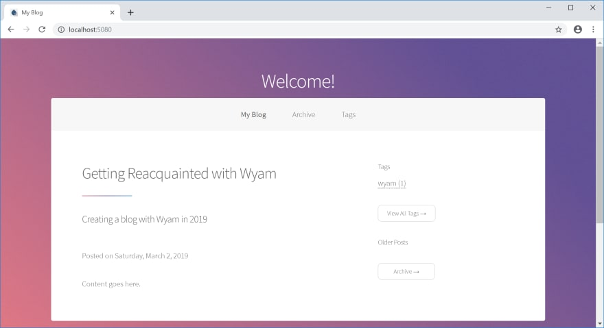 Blog with post generated by Wyam