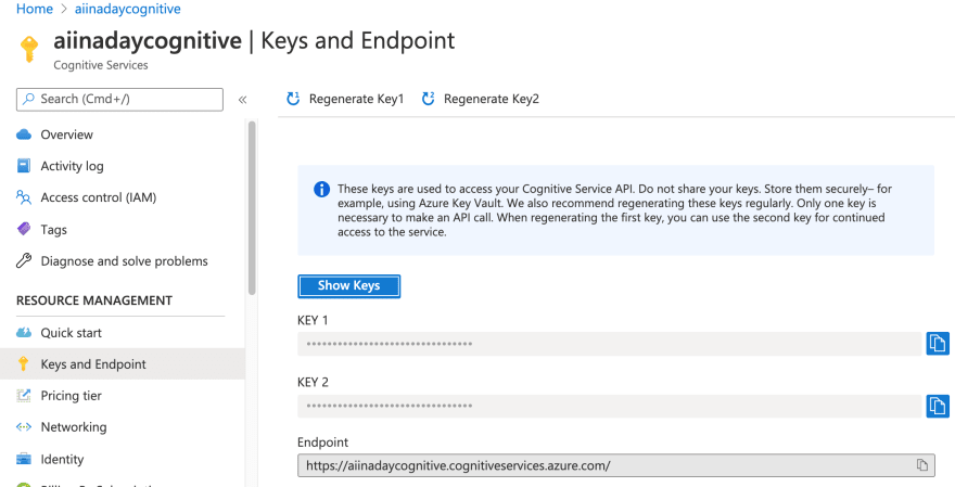 Obtaining the Cognitive Services key and endpoint