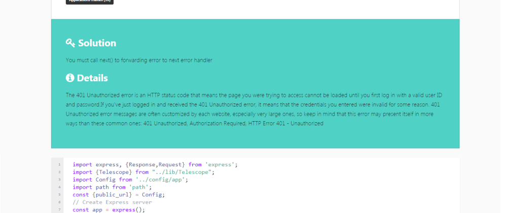 Cover image for express-telescope: A beautiful error page for Expressjs apps