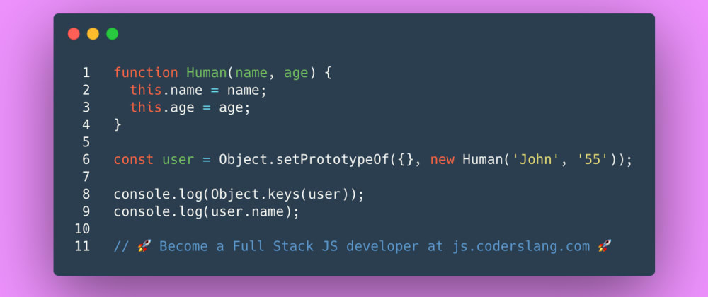 Cover image for JavaScript Interview Question #47: How Object.setPrototypeOf works in JS