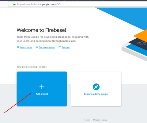 Create your first project in firebase console