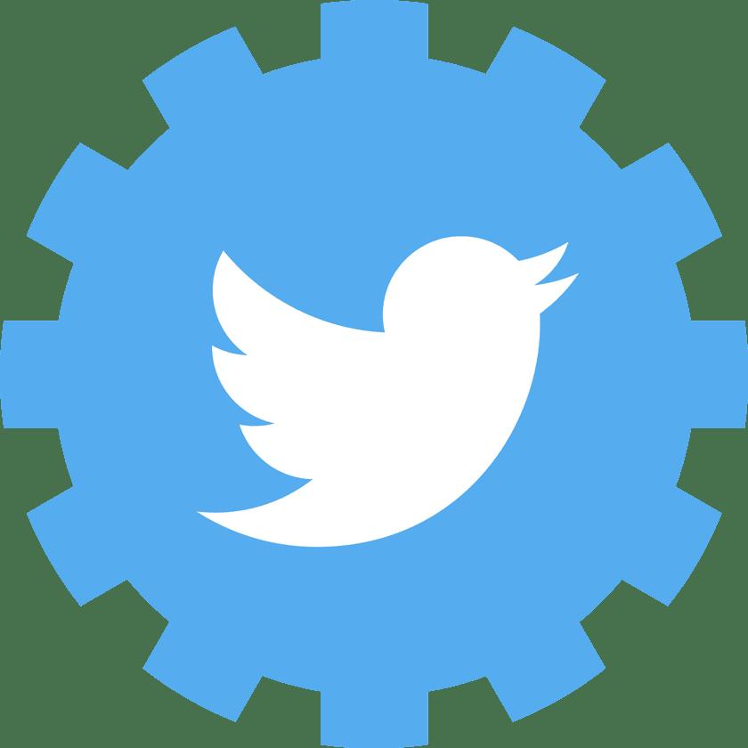 twitter logo inside a gear