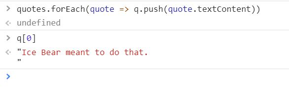 Sample output from checking a quote.