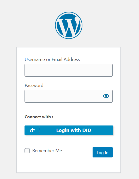 screenshot of logging into Wordpress with DID