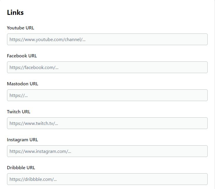 Profile-links-fields