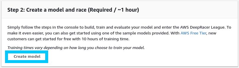 AWS DeepRacer Create model