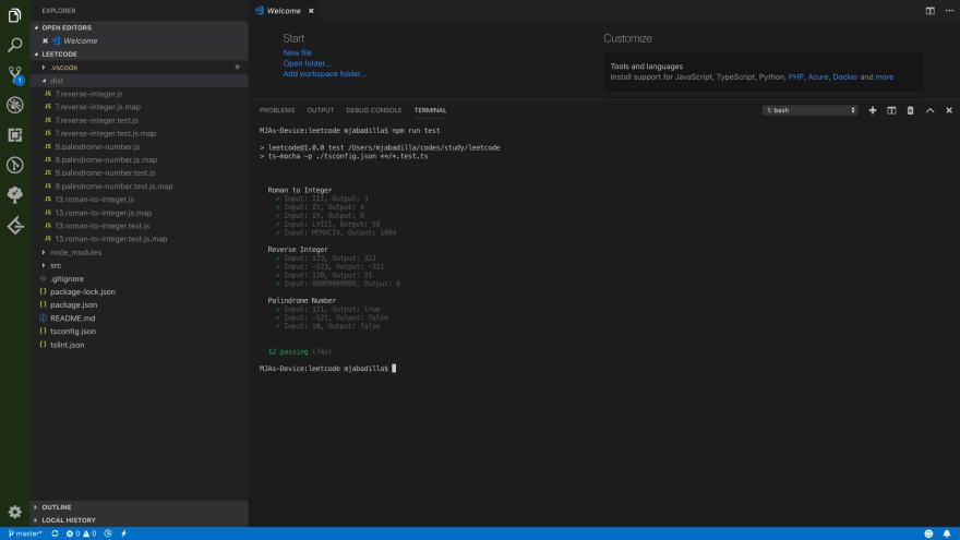 Solve LeetCode problems using Visual Studio Code, TypeScript, and