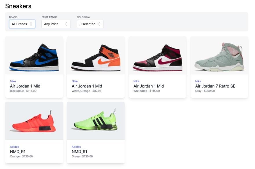 Filter Sneakers screenshot